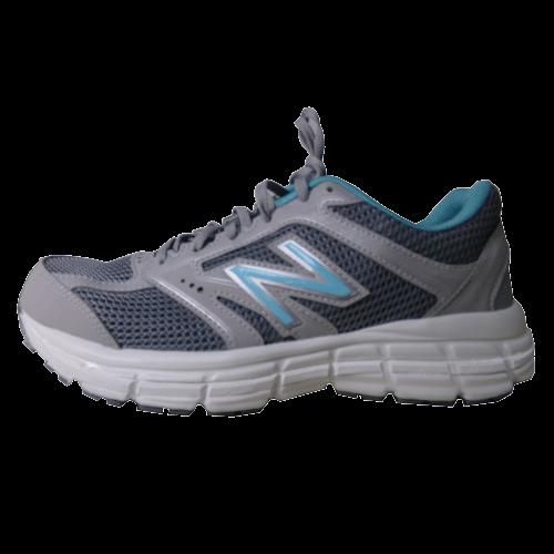 blue and light grey tennis shoe with a external shoe lift