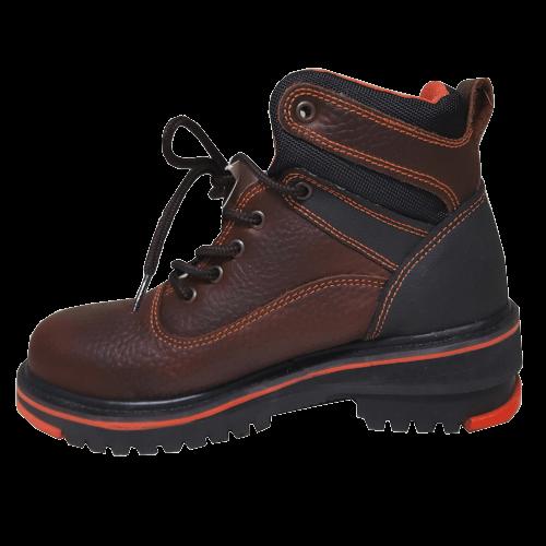brown dress shoe with a external shoe lift