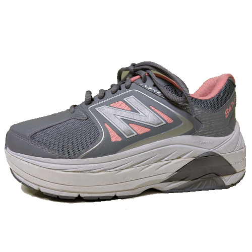 pink&grey shoe with a external shoe lift