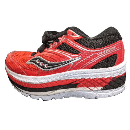red&black kids shoe with a external shoe lift