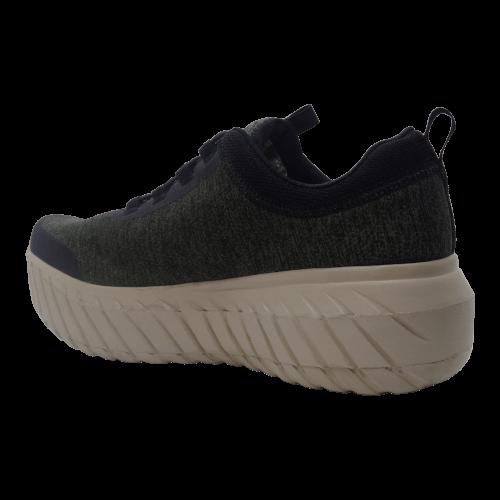 Dark gray tennis shoe with a external shoe lift